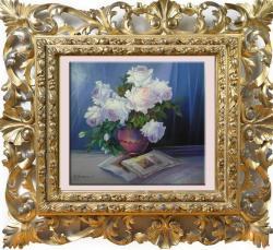 Picturi cu flori trandafiri cu alb de vis