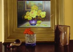 Picturi cu flori trandafiri galbeni in decor
