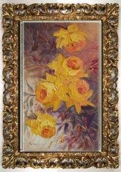 Picturi cu flori trandafiri galbeni-55c