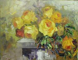 Picturi cu flori trandafiri galbeni cu radiati auri x1