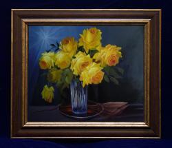 Picturi cu flori trandafiri galbeni cu raze de soare