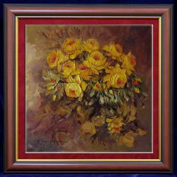 Picturi cu flori trandafiri galbeni---kk11