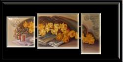 Picturi cu flori Triptic trandafiri galbeni---148