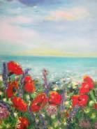 Picturi cu flori Tarm cu maci 1