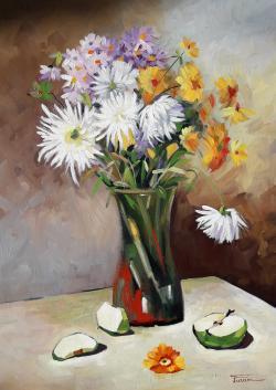Picturi cu flori Crizantemele Miei