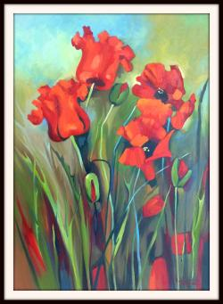 Picturi cu flori Macii din gradina