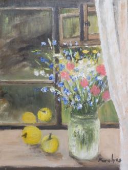 Picturi cu flori Flori in fereastra