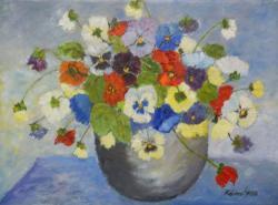 Picturi cu flori Panselute in ghiveci