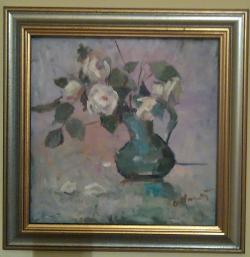 Picturi cu flori Cana verde