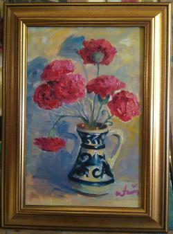 Picturi cu flori Canceu cu garoafe