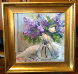 Picturi cu flori Liliac in cana de sticla