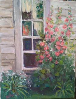 Picturi cu flori Nalba la fereastră