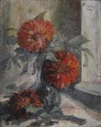 Picturi cu flori Crizanteme pe pervaz
