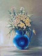 Picturi cu flori Flori de camp in vaza albastra