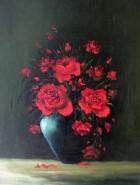 Picturi cu flori Trandafiri pe verde