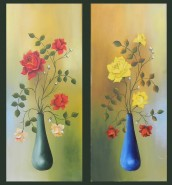 Picturi cu flori Trandafiri rosii si galbeni