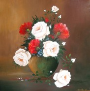 Picturi cu flori Trandafiri si garoafe