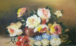 Picturi cu flori Trandafiri si liliac
