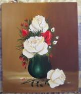 Picturi cu flori Vaza mica verde cu trandafiri