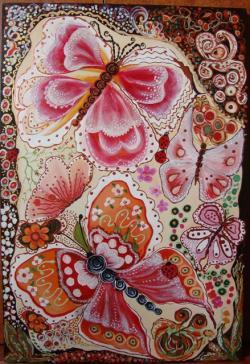 Picturi cu flori fluturi jucausi