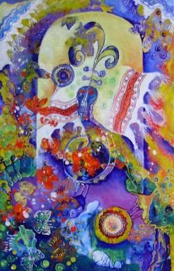 Picturi cu flori In ograda bunicii
