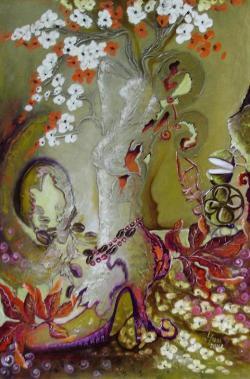 Picturi cu flori PAPUCUL DOAMNEI SI CRENGUTA DE CAFEA