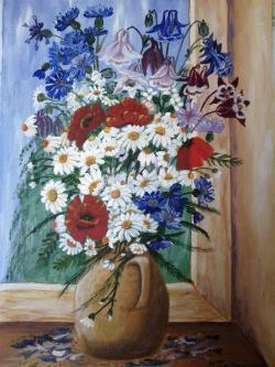 Picturi cu flori Flori camp in vas de lut