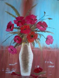 Picturi cu flori Maci in vaza1