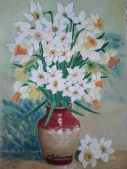 Picturi cu flori Narcise in vas de lut