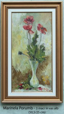 Picturi cu flori 3 maci in vas alb