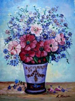 Picturi cu flori Flori albastre in vaza4