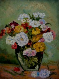 Picturi cu flori Flori cu vaza verde