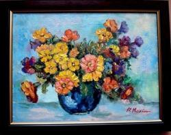 Picturi cu flori Flori in vaza albastra02