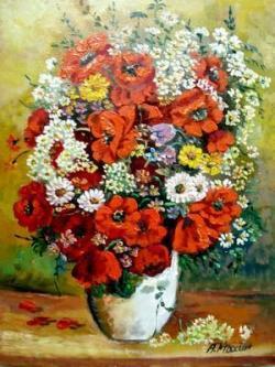 Picturi cu flori Flori rosii in vaza4