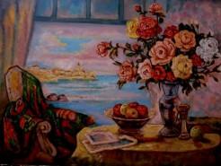 Picturi cu flori Tablou natura statica cu trandafiri