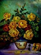 Picturi cu flori Tablou trandafiri galbeni1