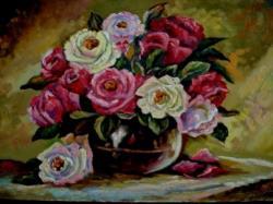 Picturi cu flori Trandafiri in vaza 01