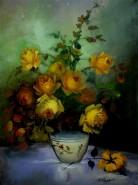 Picturi cu flori Trandafiri in vaza galbeni