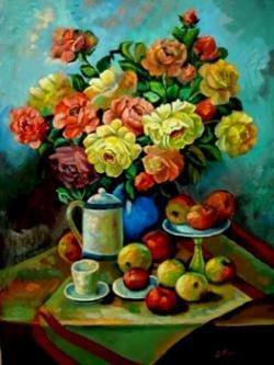 Picturi cu flori Trandafiri si fructe01