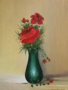 Picturi cu flori Flori in vaza mica verde