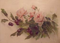 Picturi cu flori Struguri si trandafiri