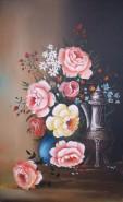 Picturi cu flori Trandafiri mari si samovar