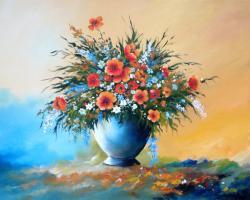 Picturi cu flori Vaza cu floricele.