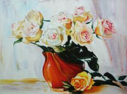 Picturi cu flori Trandafiri cu vaza rosie