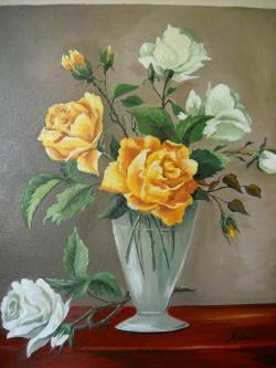 Picturi cu flori andafiri galbeni si albi