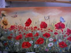 Picturi cu flori Camp cu maci si fluturi