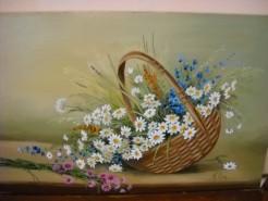 Picturi cu flori Cos cu margarete