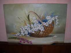 Picturi cu flori Cos cu margarete 4