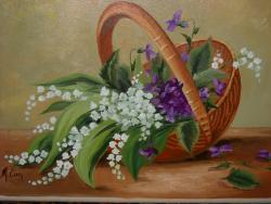 Picturi cu flori cosulet cu primavara