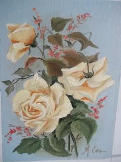 Picturi cu flori dimineata cu trandafiri galbeni